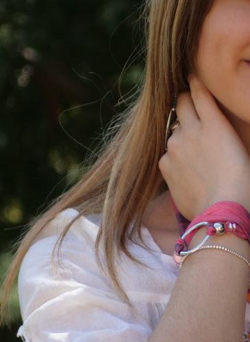 Maelys bracelet anneau pop art rose