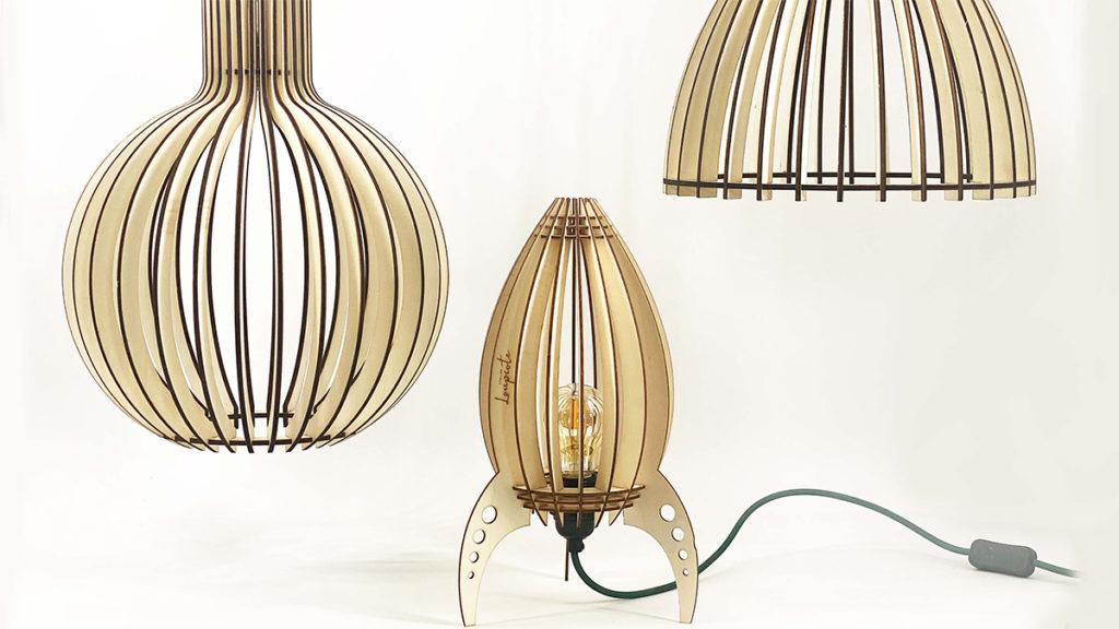 Lampe fusée et suspensions en bois Atelier Loupiote